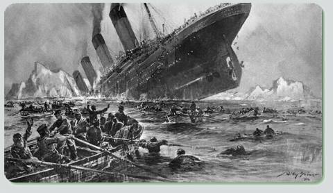 Historische Zeichnung des Schiffsuntergangs