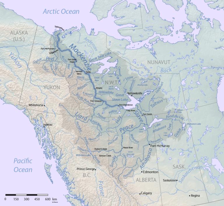 Das riesige Einzugsgebiet des Mackenzie River. Graphik Shannon1 / CC BY-SA 4.0