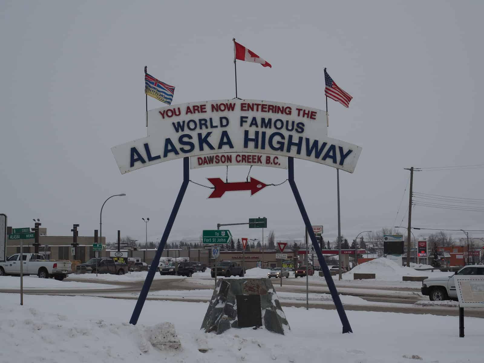 Die Meile 0 des Alaska Highway in Dawson Creek. Foto Tobias Barth