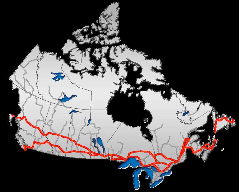 Der Straßenverlauf des Trans-Canada Highway quer durch Kanada.