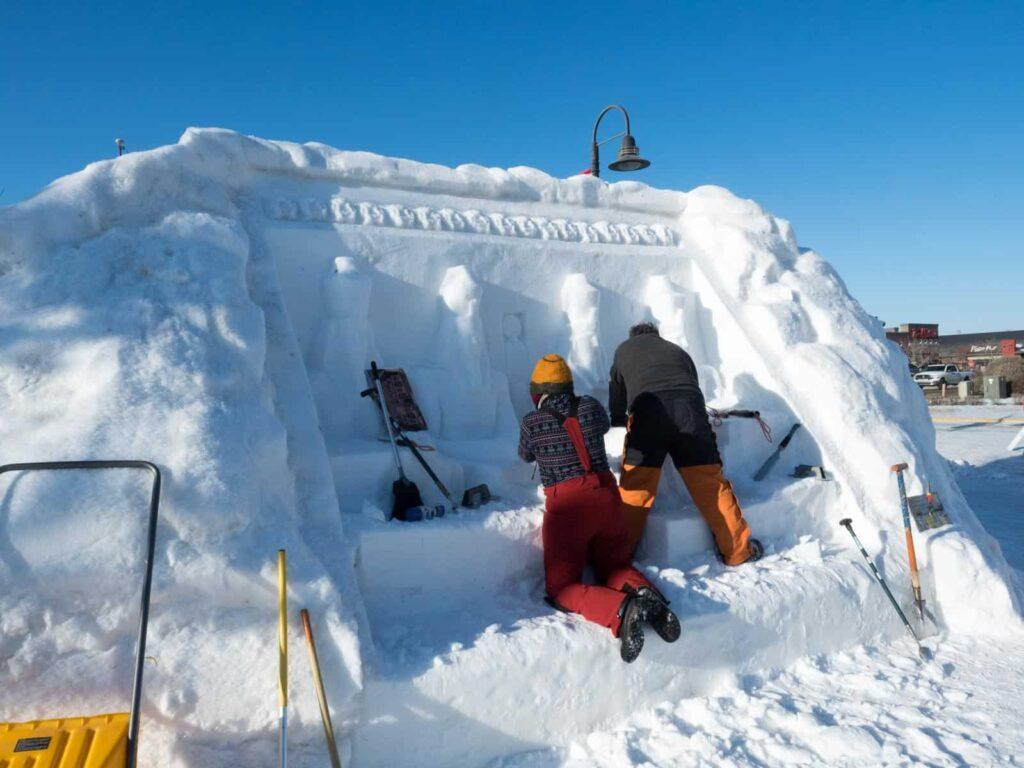 Auch Ägypten war Thema bei der Whitehorse International Snow Sculpture Challenge. Foto: Tobias Barth