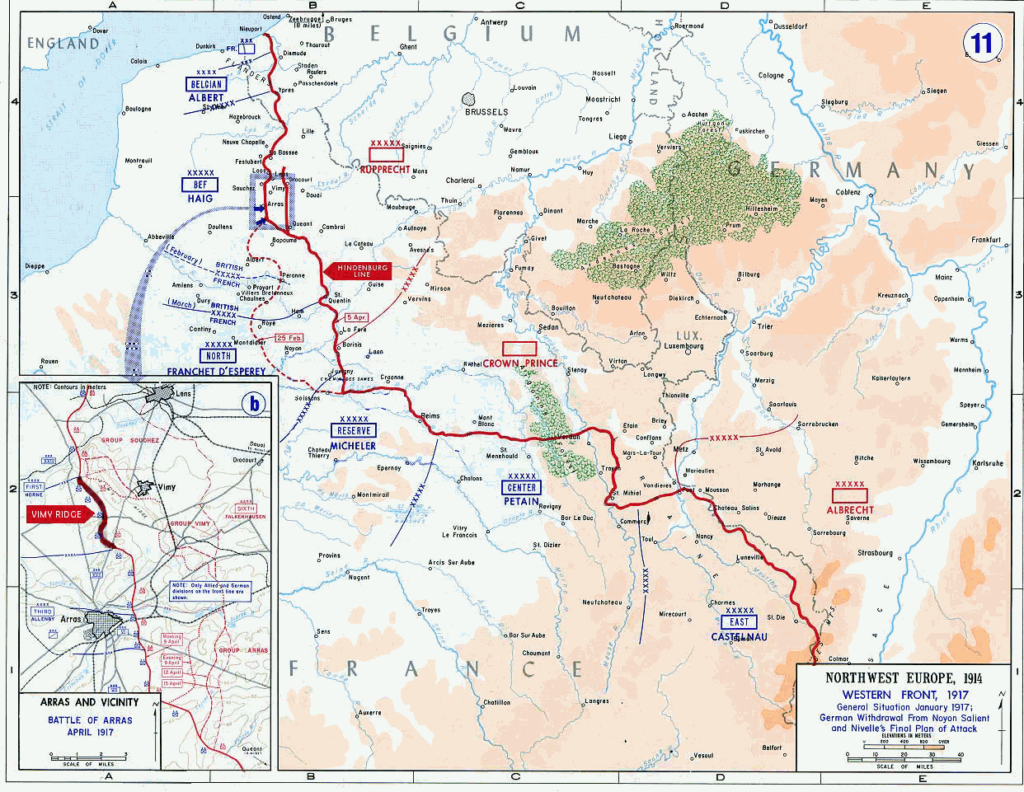 Die Schlacht von Vimy Ridge bei Arras in der Kartenansicht.