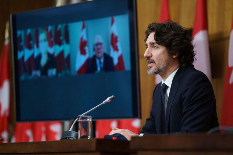 Premierminister Justin Trudeau bei einer Videokonferenz. Foto Büro des Premierminister / Adam Scotti
