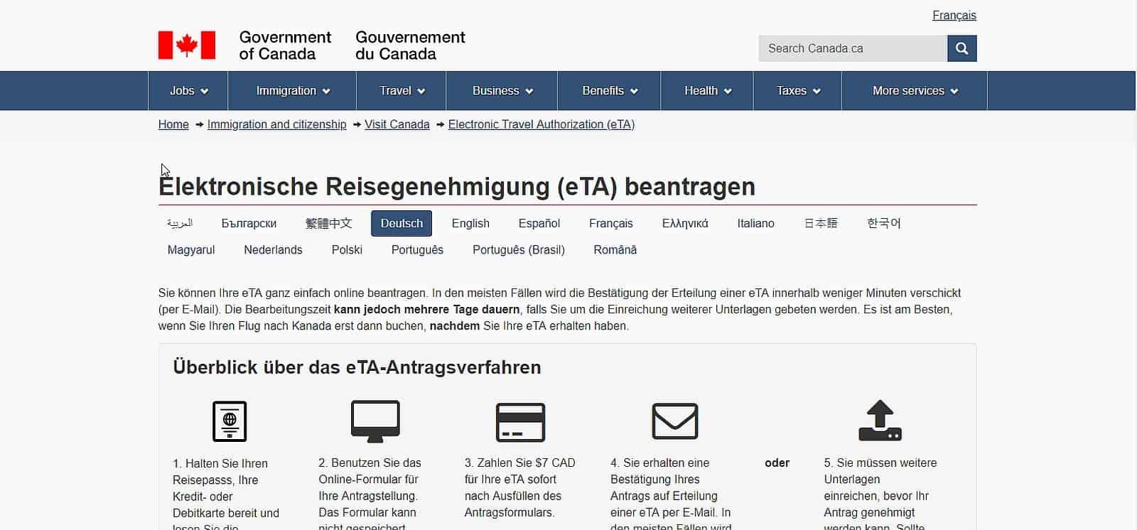 eTA Kanada Antrag - schnell und einfach ausfüllen mit der Anleitung in deutscher Sprache. Foto www.canada.ca