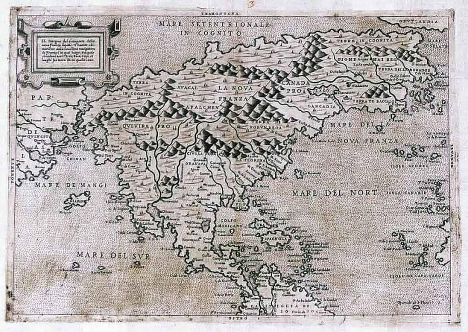 "Eine der ersten Karten, in denen der Name ""Canada"" auftaucht. Paulus de Furlanis Veronensis opus hoc exmi. Cosmographi D[omi]ni Iacobi Gastaldi Pedemontani Instaurauit, Venedig 1560 – Gemeinfrei"