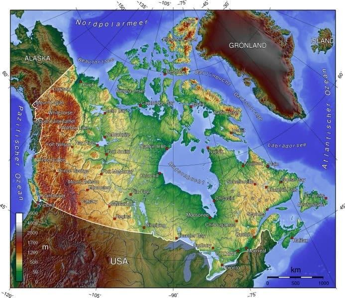 Topographische Karte Kanadas.