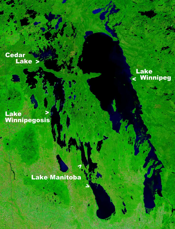 Der Lake Winnipeg aus dem All gesehen. Foto NASA/gemeinfrei