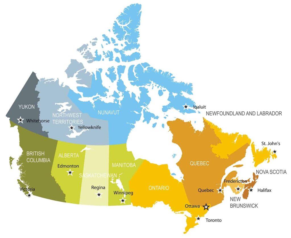 Kanada Karte mit Provinzen und Territorien