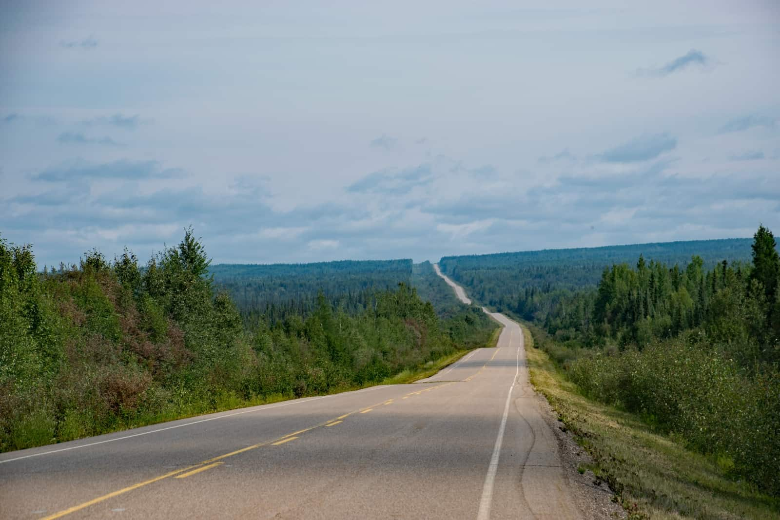 Auf dem Weg von Fort Nelson nach Yellowknife erwartet uns ein endlos erscheinender Highway. Foto Daniela Ganz