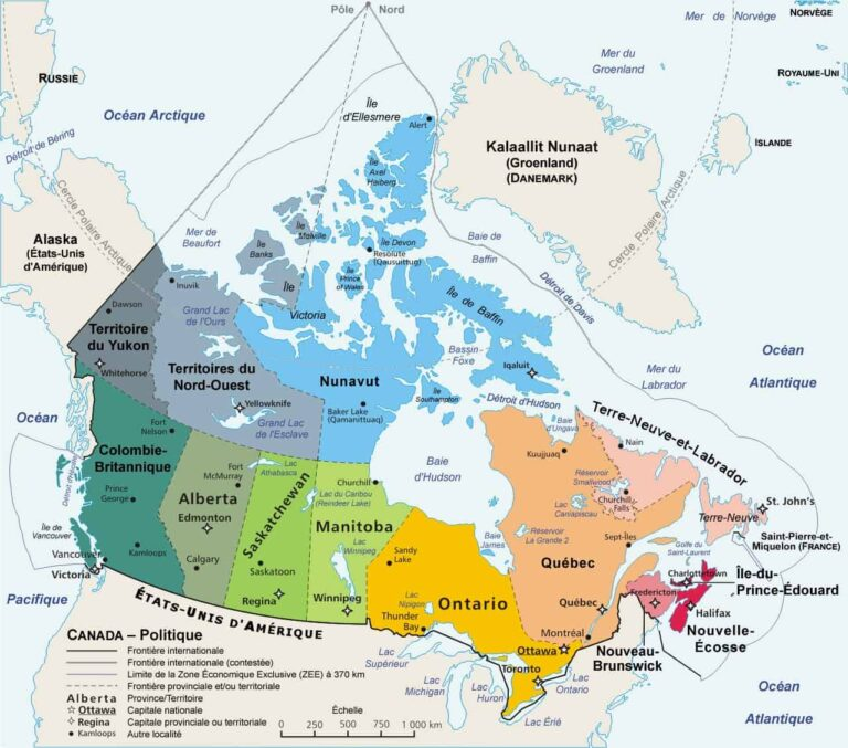 Geographische Karte Kanada - Graphik Gemeinfrei-Wikipedia