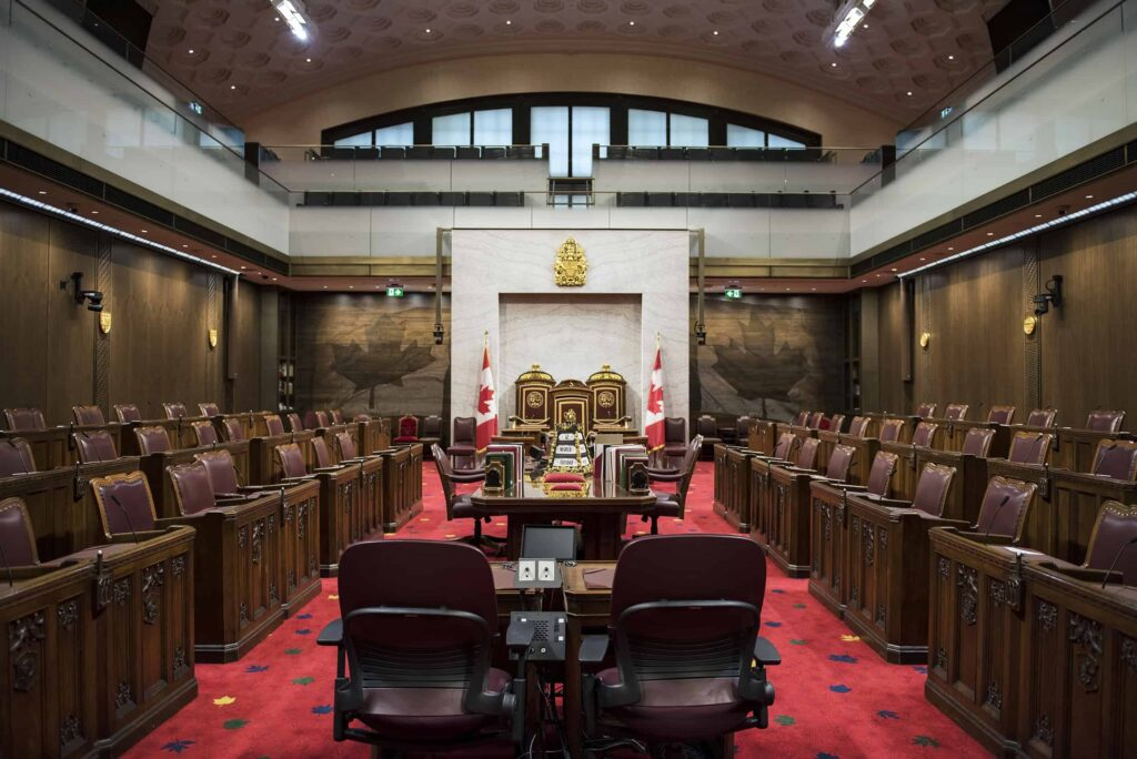 Sehenswürdigkeiten Ottawa: Blick in den Parlamentssaal des Senats von Kanada. Foto Senat of Canada