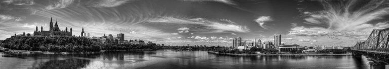 Ein traumhafter Panoramablick auf die Bundeshauptstadt Ottawa in schwarz/weiss. Foto hstiver/Deposit
