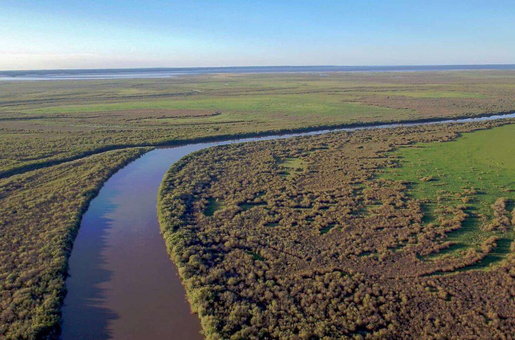 Das Peace-Athabasca-Delta aus der Luft. Der Nationalpark Wood Buffalo gehört zu den größten geschützten Gebieten der Erde. Mit einer Fläche von rund 44.700 Quadratkilometern ist er größer als die Schweiz. Foto Arte / © Florianfilm