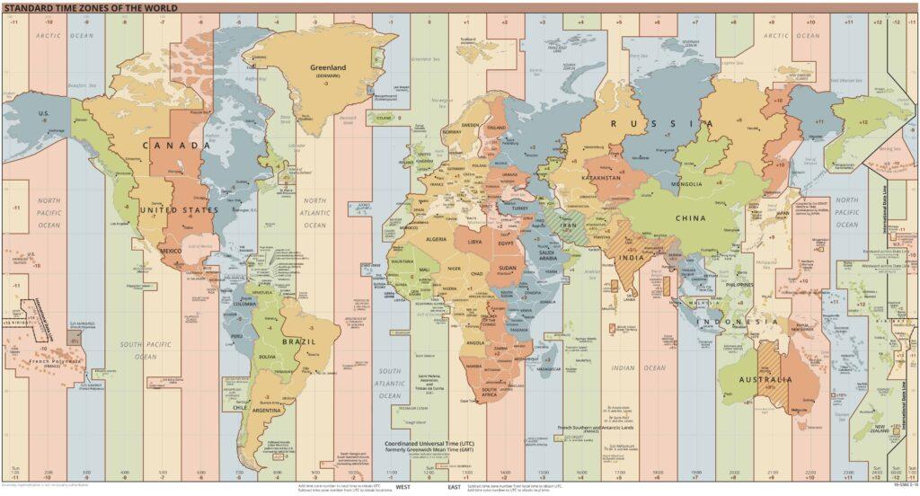Die Welt-Zeitzonen im Überblick. Foto gemeinfrei