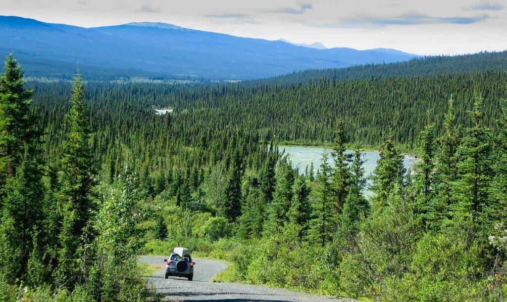 Der typische boreale Nadelwald im hohen Norden Kanadas, wie hier an der North Canol Road, die über 449 Kilometer im Yukon von Johnsons Crossing (Abzweig vom Alaska Highway) zu den Mackenzie Mountains an der Grenze zu den Northwest Territories führt. Foto PiLens / Deposit