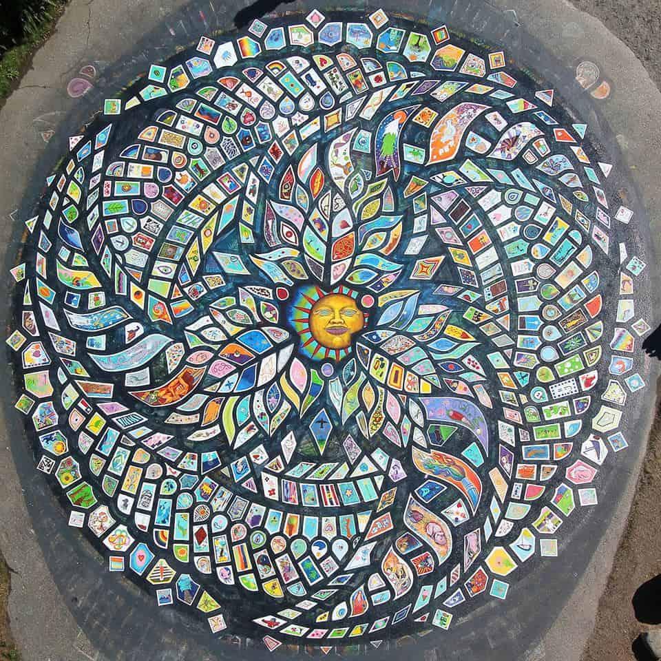 Von oben zeigen sich erst die Ausmaße des farbenfrohen und wunderschönen Mandala am Strand von Roberts Creek. Foto Community Mandala Roberts Creek