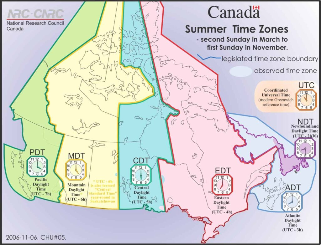 Die Zeitzonen in Kanada. Sommerzeit in Kanada. Graphik National Research Council Canada