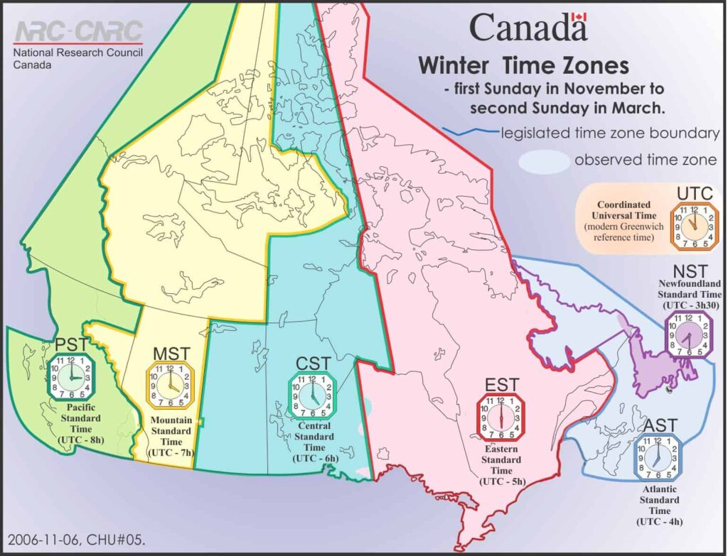 Die Zeitzonen in Kanada. Winterzeit in Kanada. Graphik National Research Council Canada