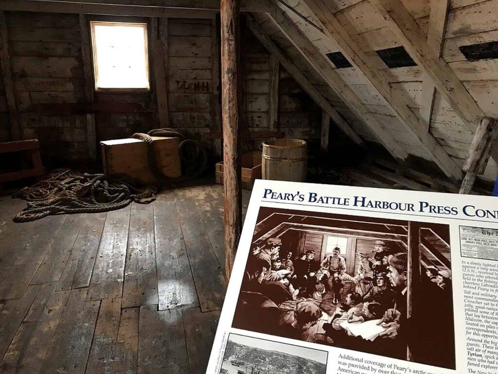 Blick in den Dachboden des Salzlagers, in dem Peary seine Pressekonferenz gab. Foto Bernadette Calonego