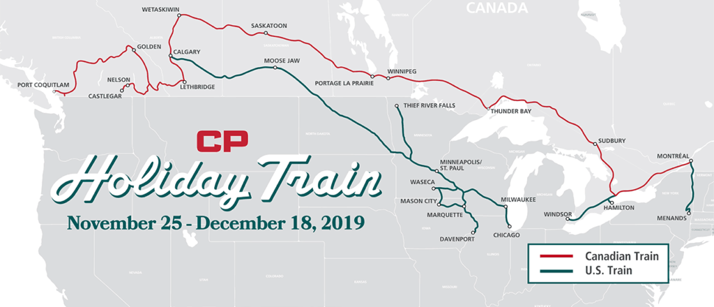 Die Strecke des Canadian Pacific Holiday Train in Kanada und den USA. Foto CPR.