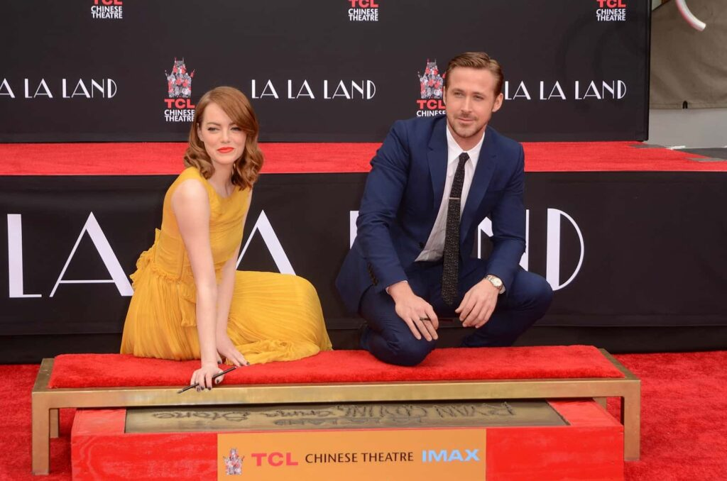 Ryan Gosling mit Emma Stone bei der Hand and Foot Print Ceremony am TCL Chinese Theater in Hollywood im Jahr 2016. Foto © s_bukley