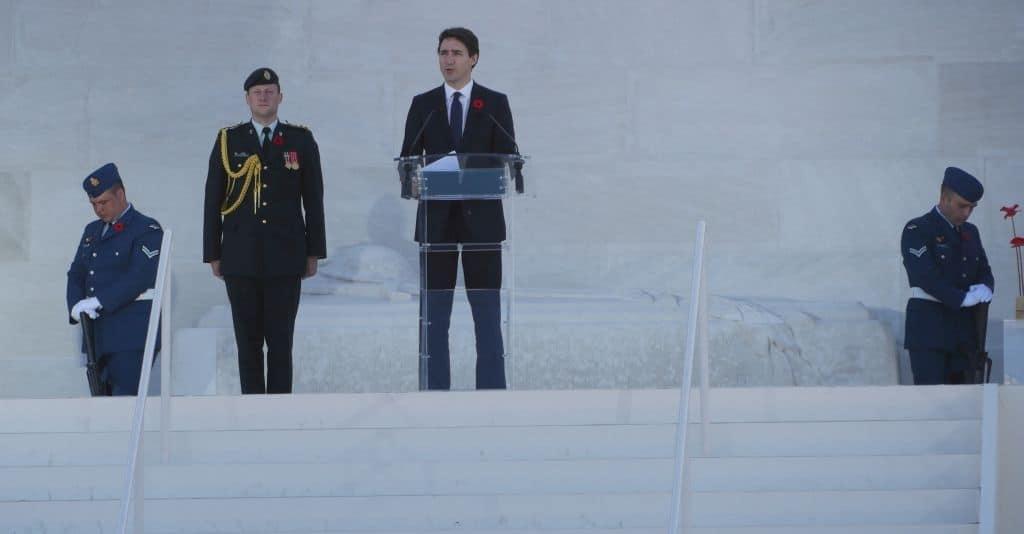 Premierminister Justin Trudeau bei seiner Gedenkrede zum 100. Jahrestag der Schlacht von Vimy Ridge. Foto Alfred Pradel