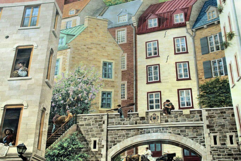 Wandmalereien an Gebäuden in der Unterstadt in Québec City. Foto Deposit