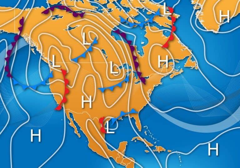 Das Wetter in Kanada. Symbolgraphik einer Wetterkarte für Nordamerika. Graphik oconner / Deposit