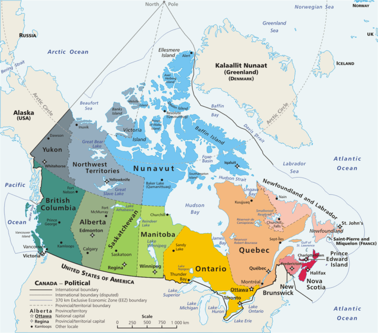 Die Provinzen und Territorien Kanadas mit den Hauptstädten und der Bundeshauptstadt Ottawa. Graphik E Pluribus Anthony / Gemeinfrei