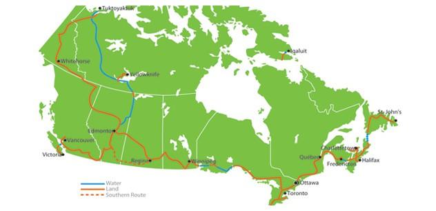 Der Trans Canada Trail, der mit mehr als 18.000 Kilometern Länge längste Fernwanderweg der Welt. Graphik Trans Canada Trail / albertatrailnet.com