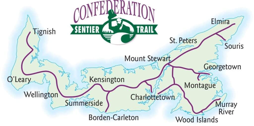 Der Confederation Trail in der Kartenansicht. Graphik PEI Tourism