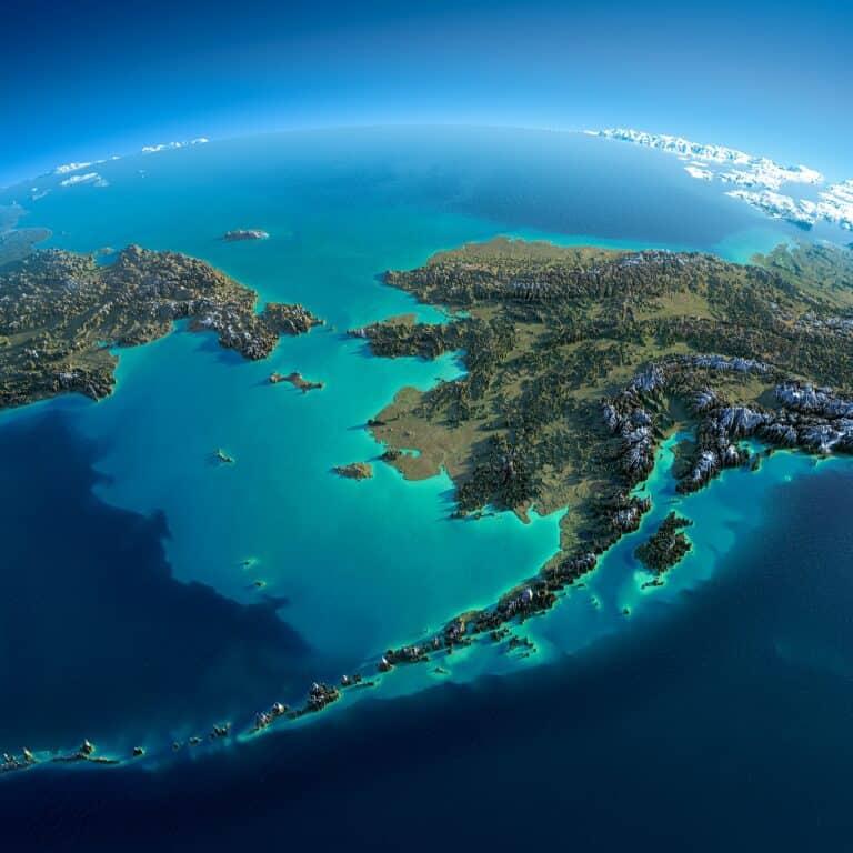Alaska. Reliefgraphik Antartis / Deposit