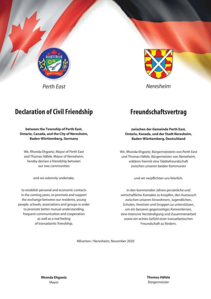 Die Urkunde zur Besiegelung der Städtefreundschaft zwischen Neresheim und Perth East. Foto Stadt Neresheim