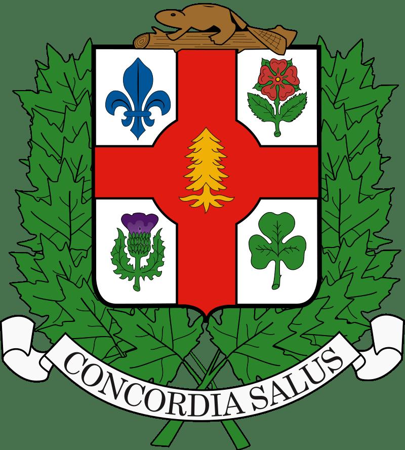 """Das Wappen der Stadt Montreal mit dem Wahlspruch """"Concordia Salus"""" (Wohlergehen durch Harmonie).  Graphik gemeinfrei"""