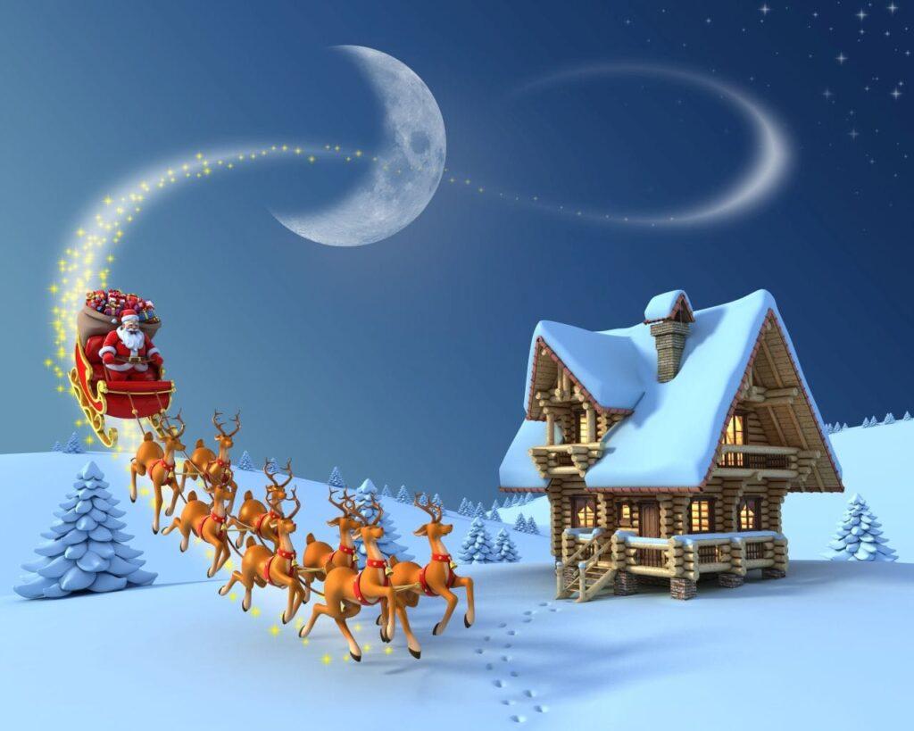 Santa Claus mit seinen Rentieren Dasher, Dancer, Prancer, Vixen, Donder, Blitzen, Cupid, Comet und Rudolph auf dem Weg zu den Familien in Kanada. Graphik koya979 / Deposit