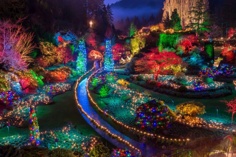 Was für eine wundervolle Weihnachtsbeleuchtung in den Butchart Gardens in der Nähe der Provinzhauptstadt Victoria auf Vancouver Island. Foto JamesWheeler / Deposit