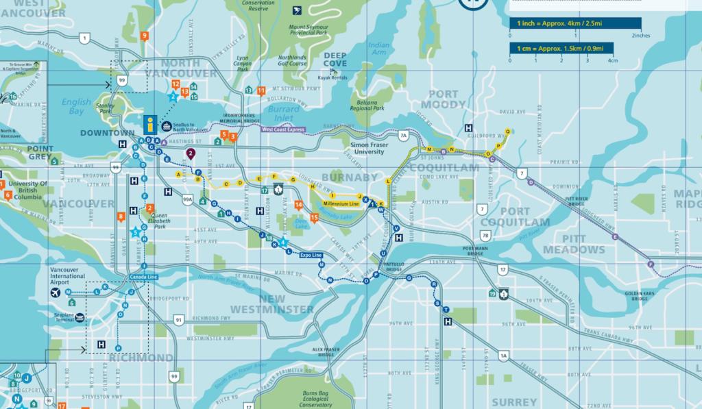 Karte Grossraum Vancouver zum Download