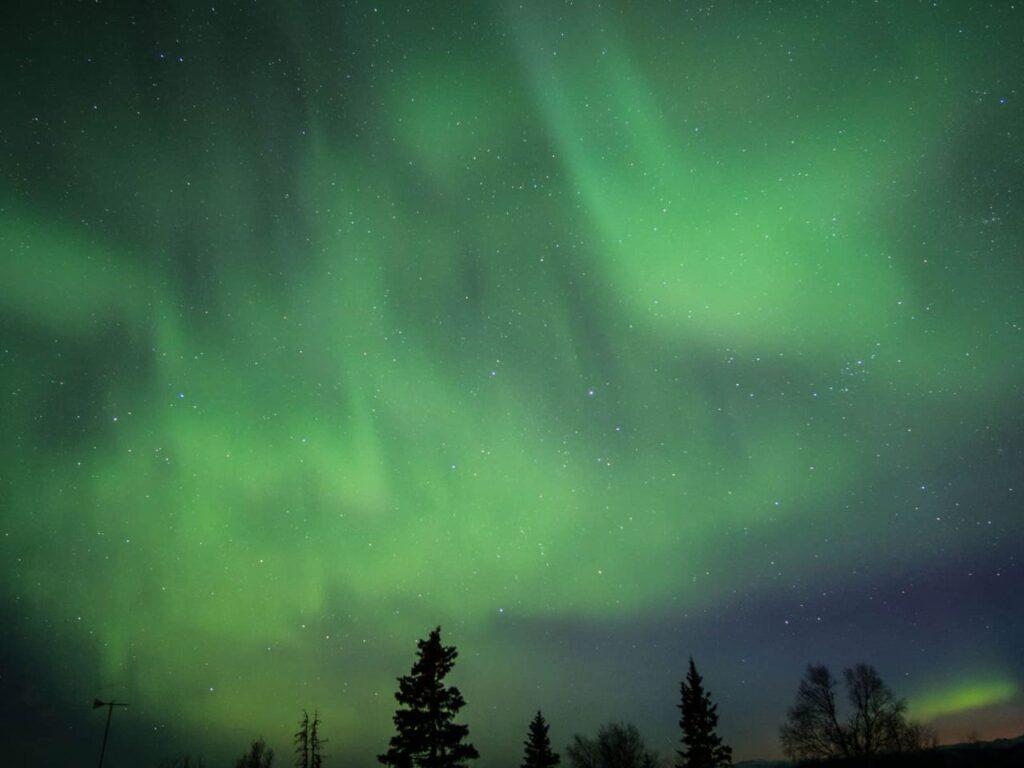 Wunderschöne Nordlichter über dem Ibex Valley im Yukon. Foto Tobias Barth