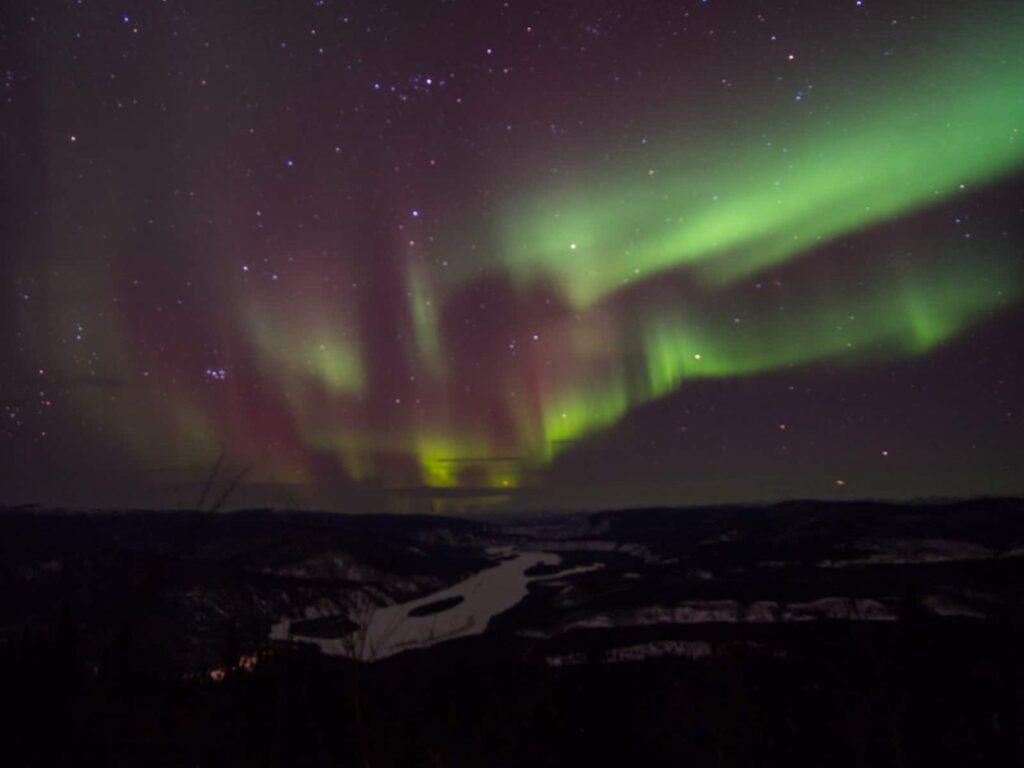 Nordlichter über dem Yukon River bei Dawson City. Foto Tobias Barth