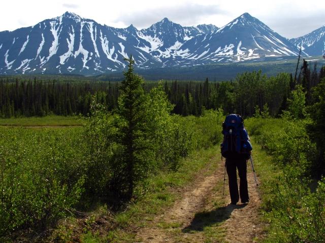 Das Abenteuer Auriol Trail kann beginnen. Im Hintergrund sieht man die Auriol Bowl. Foto YukonHiking
