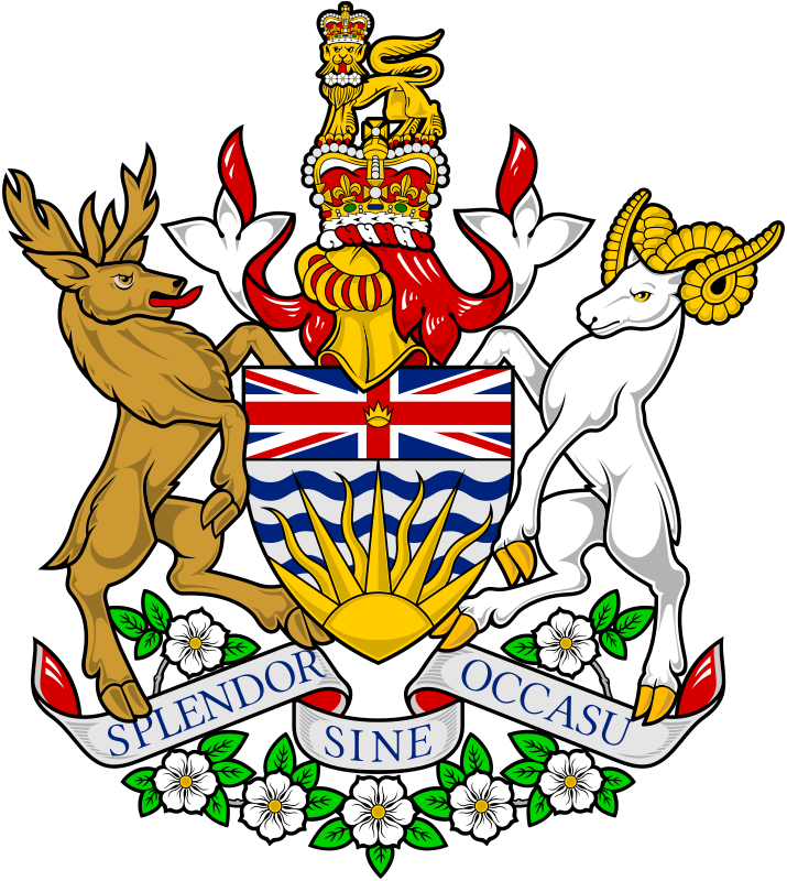 """Das Wappen (Coat of Arms"""" von British Columbia."""