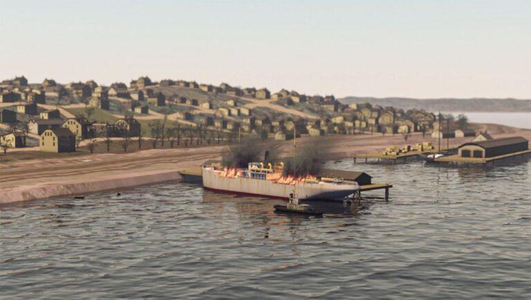 Zwei Schiffe stoßen im Hafen von Halifax zusammen, eines davon geht in Flammen auf. Der Brand verursacht eine verheerende Explosion. Graphik © ZDF/CBC Stock