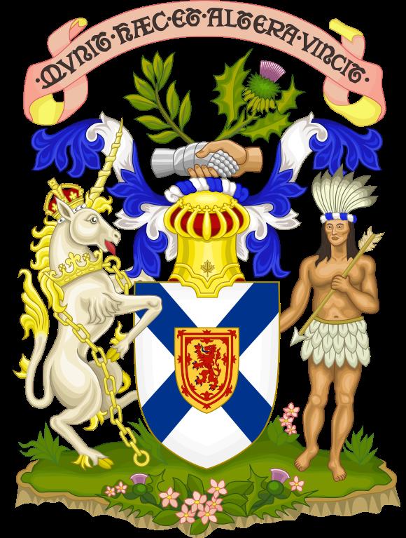 Das Wappen (Coat of Arms) von Nova Scotia.
