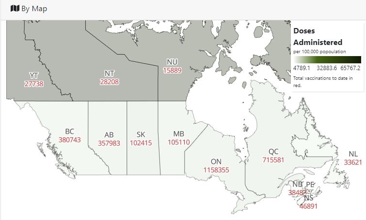 Verabreichte Impfstoffdosen in Kanada, aufgeteilt nach Provinzen und Territorien.