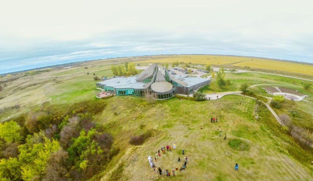 Sehenswürdigkeiten in Saskatoon: Wanuskewin aus der Luft gesehen. Foto Tourism Saskatoon & Concepts Photography