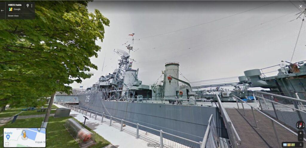 Auch die HMCS Haida National Historic Site kann auf der virtuellen Reise mit Parks Canada an ihrem letzten Liegeplatz im Hafen von Hamilton, Ontario besucht werden. Screenshot Google Maps