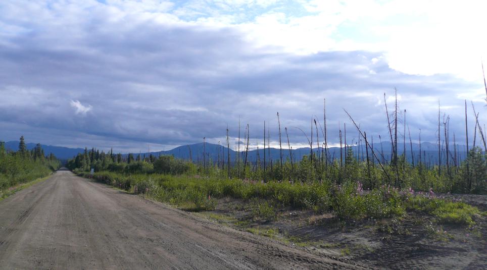 Der Robert Campbell Highway in der Nähe des Simpson Lake. Foto david adamec