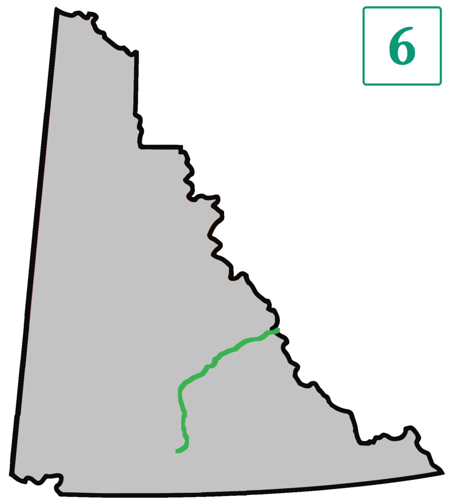Der Verlauf der Canol Road von Johnsons Crossing (Abzweig vom Alaska Highway) bis zum Straßenende in den Mackenzie Mountains an der Grenze zu den Nordwest-Territorien. Graphik Nima Farid / CC0