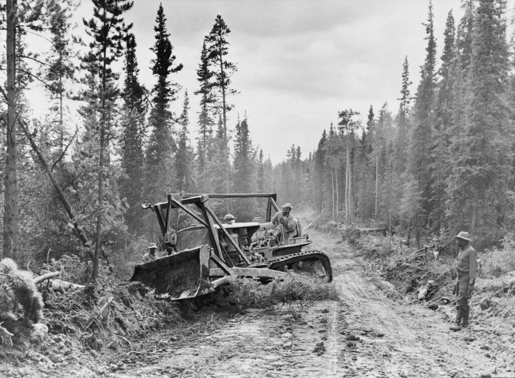 Der Bau des Alaska Highway war eine militärische und technische Meisterleistung. Foto Office of War Information / gemeinfrei