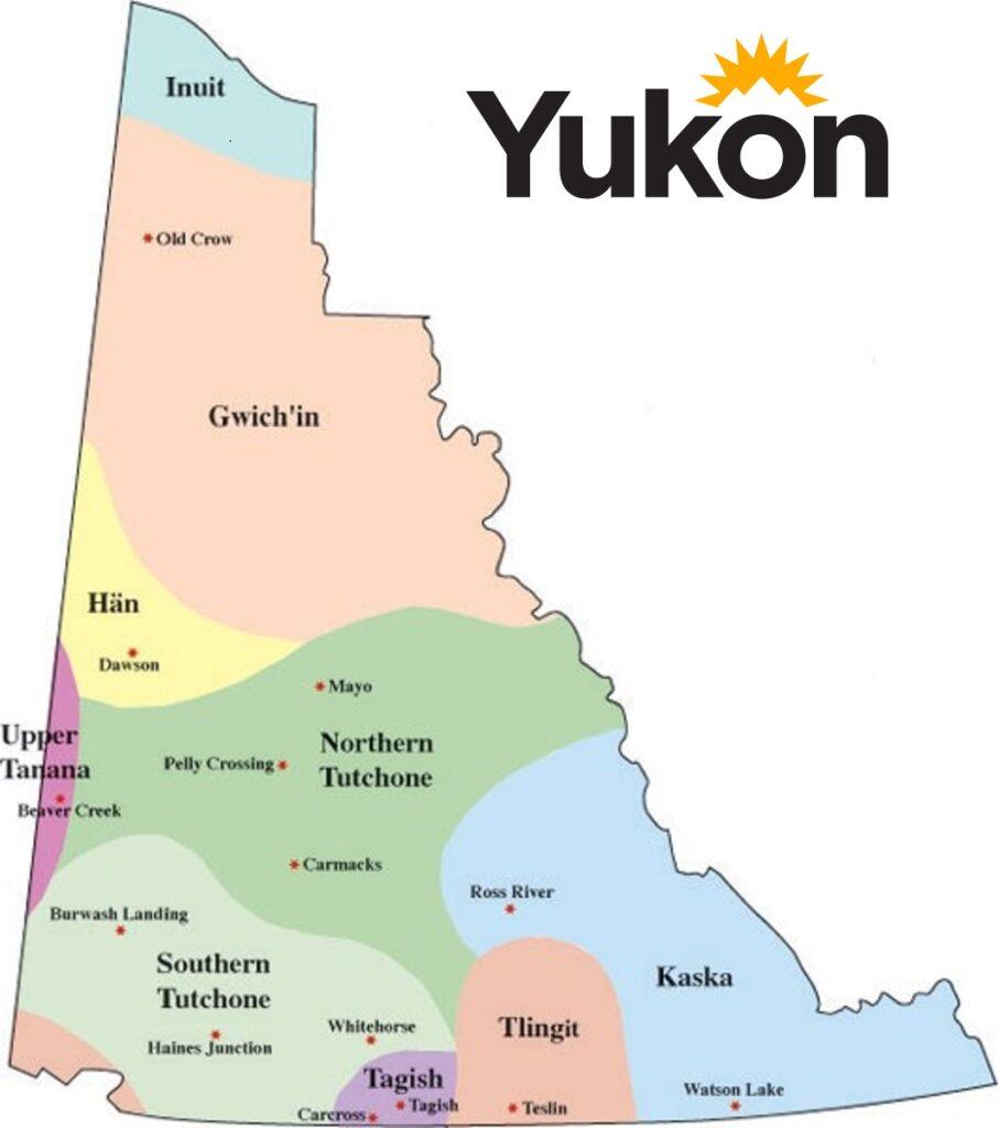 Die First Nation des Yukon und ihre jeweiligen Siedlungsgebiete im Territorium. Graphik Government of Yukon